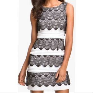BCBGMaxazria Black & White lace Cocktail Dress